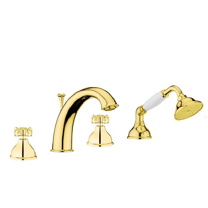Смеситель на борт ванны Webert Ottocento OT730101 Золото/белый