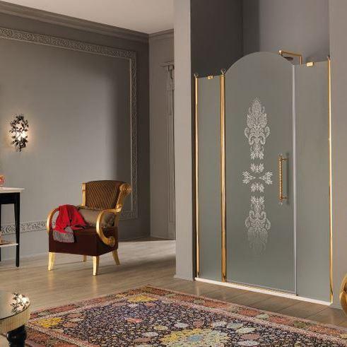 г. Москва: Samo Eterna душевая дверь в нишу по индивидуальному заказу с вырезом: золото, Swarovski, декор
