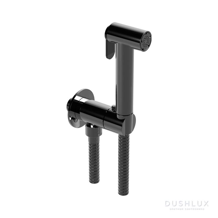 Huber Shower Гигиенический душ со шлангом 120 см,держатель с выводом, цвет черный матовый