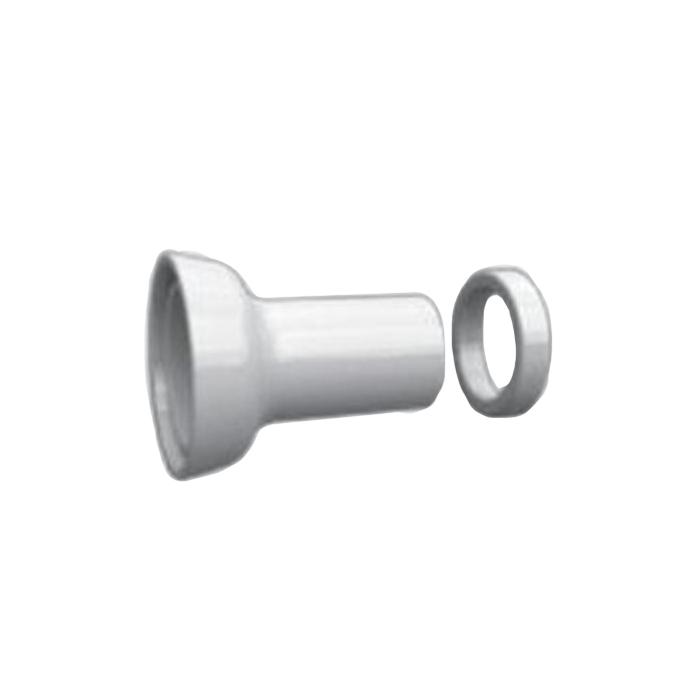 KERASAN Retro Керамический отвод для слива в стену, с декоративным кольцом (без резиновых манжет), цвет: белый