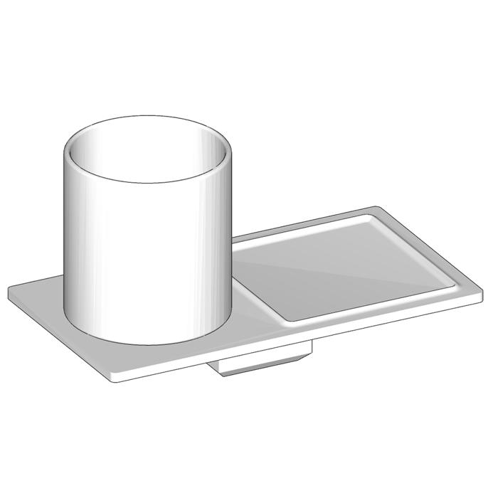 Agape Dot line Полочка с мыльницей и стаканном, подвесная, цвет: белый