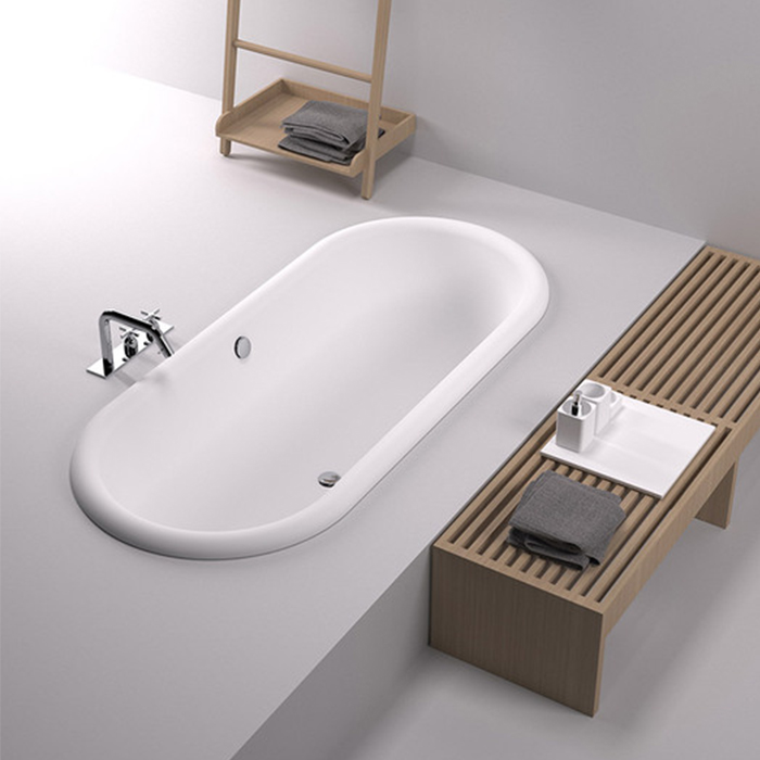 Agape Ottocento Ванна встраиваемая 178х79х59.5 см, слив-перелив полированный хром, цвет: белый