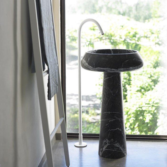 Agape Bjhon 2 Раковина 54.5 см, без отв., напольная, выпуск в стену, мрамор Marquinia, цвет: черный