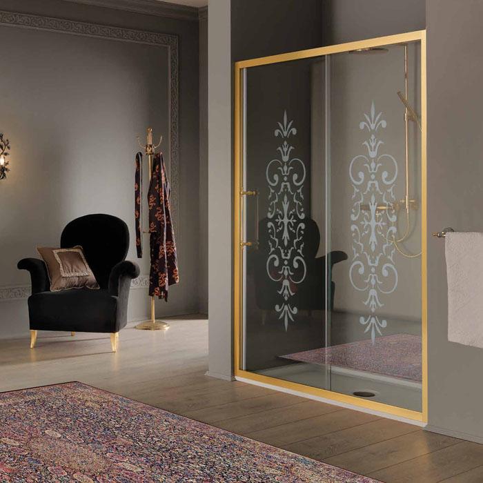 SAMO VB Дверь в нишу/для боковой стены 116-122хh200, профиль и ручки золото, стекло прозрачное с матовым декором N6+StarClean