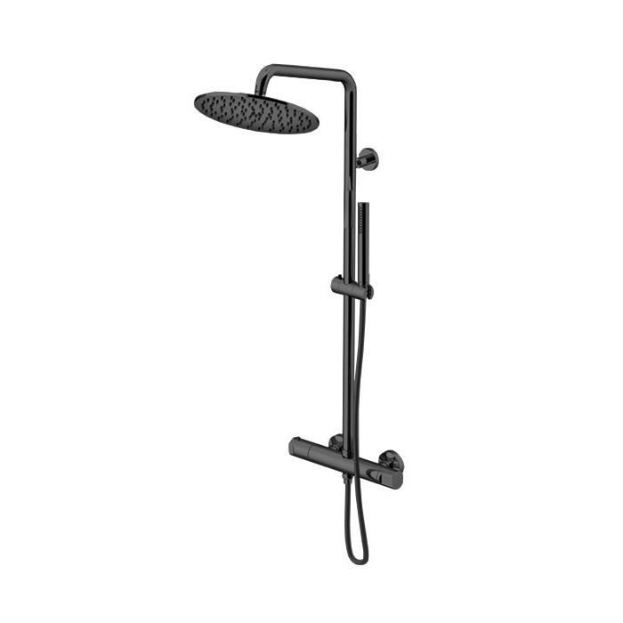 Gattoni Circle Two Душевой комплект: смеситель термостатический, душевая стойка, душевая лейка 250 мм, ручной душ, цвет: Nero Opaco