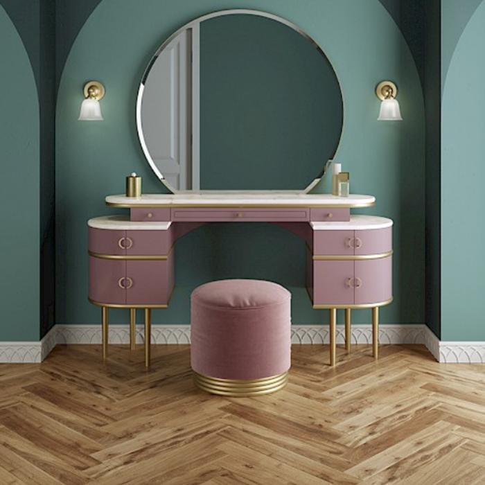 Devon&Devon Zelda Комплект тумба напольная 155х45х183 см,столешy cremo-extra, цвет мебели розовый , ножки золото + пуф круглый, цвет розовый+зеркало круглое