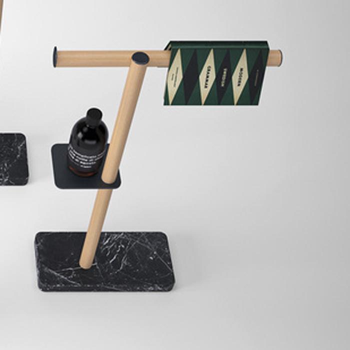 Agape Dot line Напольная стойка с аксессуарами, цвет: натуральный дуб/черный мрамор Marquinia