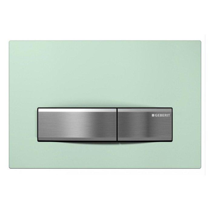 Sigma50, смывная клавиша, двойной смыв, рамка-зеленое стекло/кнопки-нерж.сталь