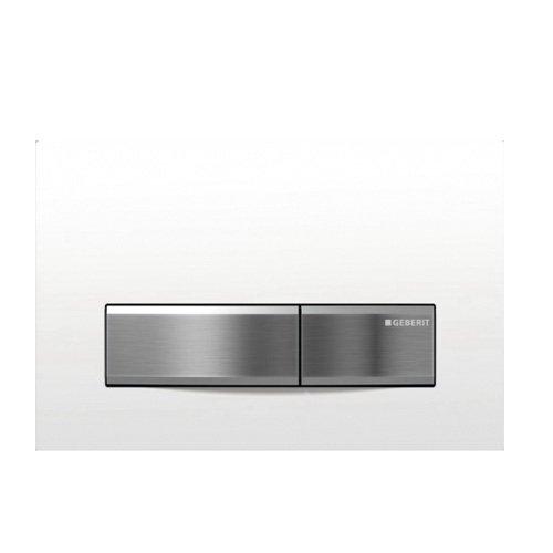 Sigma50, смывная клавиша, двойной смыв, рамка-бел./кнопки-нерж.сталь