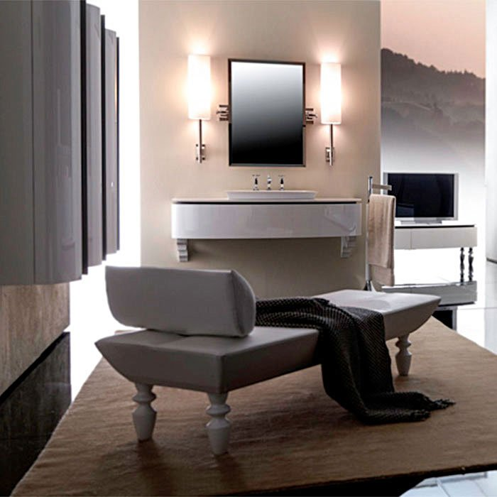 Karol Bania comp. №2, комплект подвесной мебели 140 см. цвет: Blanco brillante фурнитура: хром