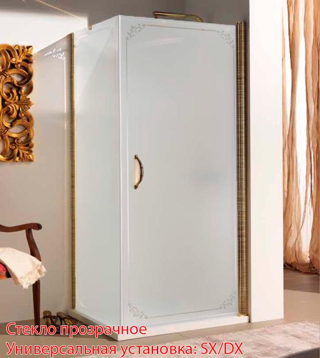 SAMO FDT Душевой угол, проф. бронза, прозрачное стекло+ боковая стенка декор TREVI, 86-88х90хh190, ручка бронза