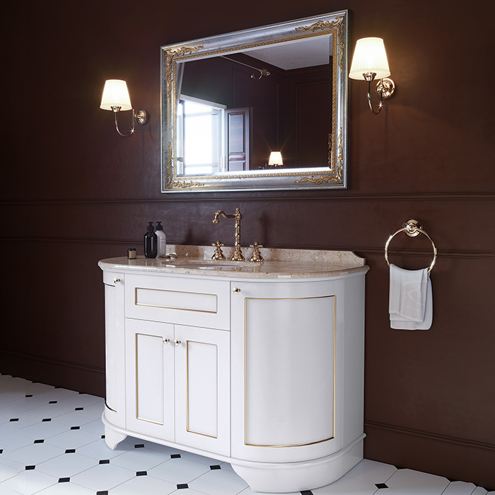 TW York Nuovo Комплект мебели с мраморной столешницей с 3 отв. и зеркалом, 130см, цвет: bianco/oro