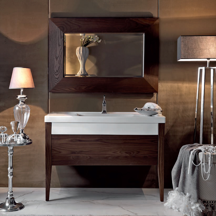 KERASAN Bentley Комплект мебели , (раковина без бортика), с ножками и зеркалом, 120см, Цвет: frassino scuro(темный ясень).