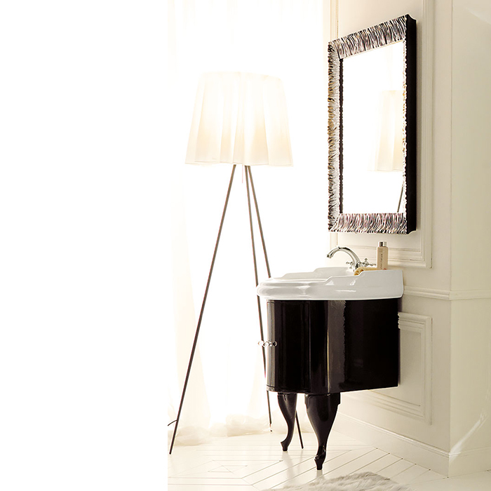 KERASAN Retro Комплект мебели, с ручкой кристалом (хром), 69см, Цвет: nero(черный глянец).