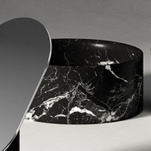 Agape Constellation Контейнер настольный 25х10 см, мрамор Marquina, цвет: черный