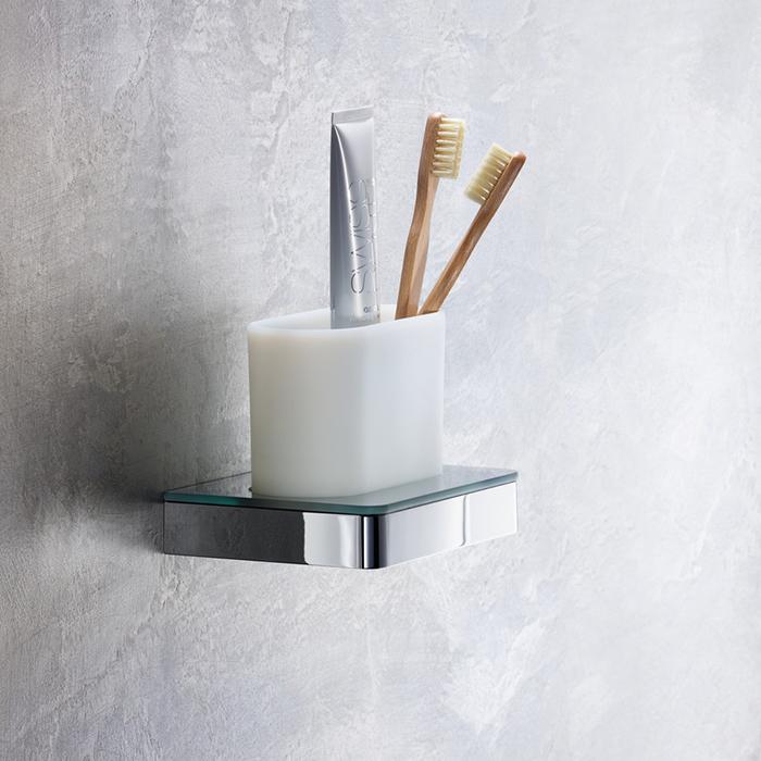 Axor Universal Стакан для зубных щеток для  настенного монтажа и монтажа на  рейлинге, цвет: хром/белый