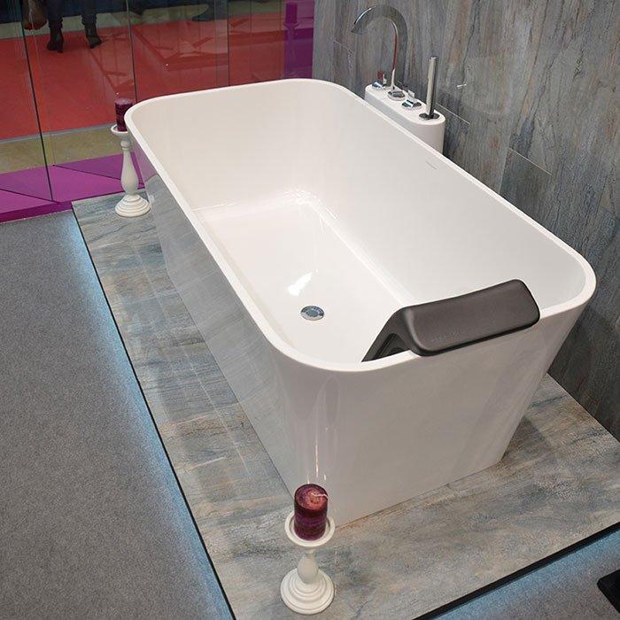 Victoria + Albert  Edge, Ванна с встр. базой без перелива, 150х80х60 см, quarrycast, Цвет: белый