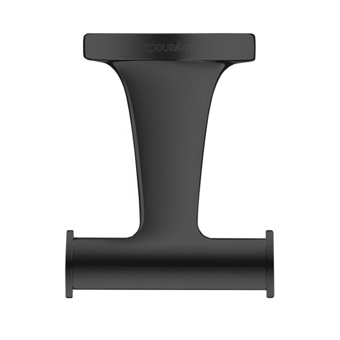 Duravit Starck T Двойной крючок, подвесной, цвет: черный матовый