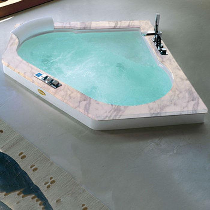 Jacuzzi Aura Corner 160 Top Ванна 160х160хh60 гидромассажная R + C угловая см смеситель Aura цвет белый-хром Топ - Белый карарский мрамор