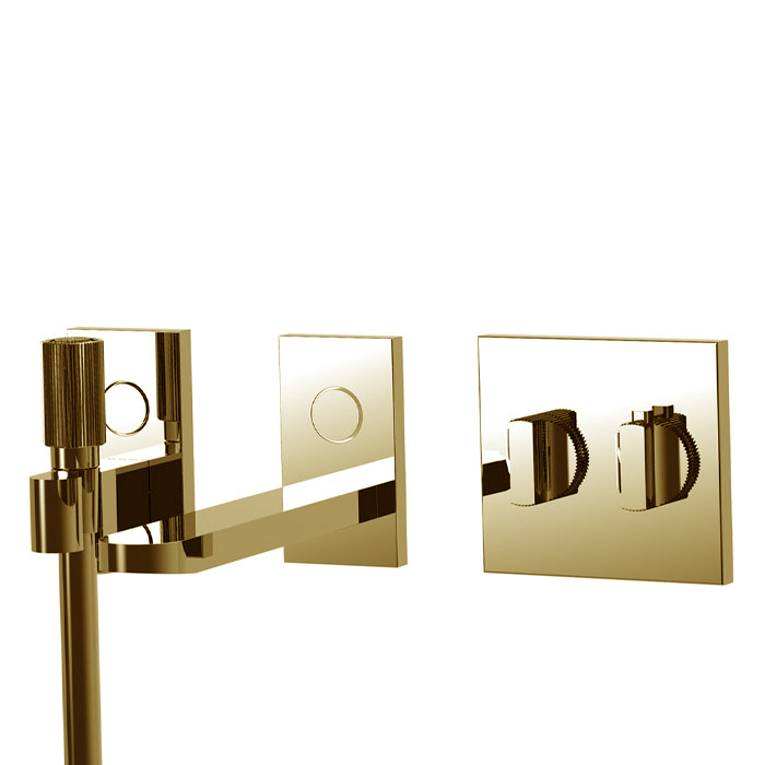 Carlo Frattini Switch Смеситель для ванны встраиваемый, термостатический, излив 208мм, ручной душ и черный шланг 1500мм, внешн часть, цвет: золото