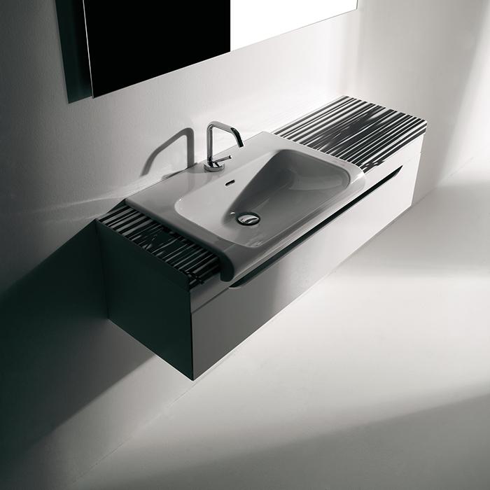KERASAN Inka Project База INKA подвесная 120см, для установки раковины 60х40 см, слева, раковина цвет белый глянцевый, панель исполнение Arte 1, цвет базы белый глянцевый