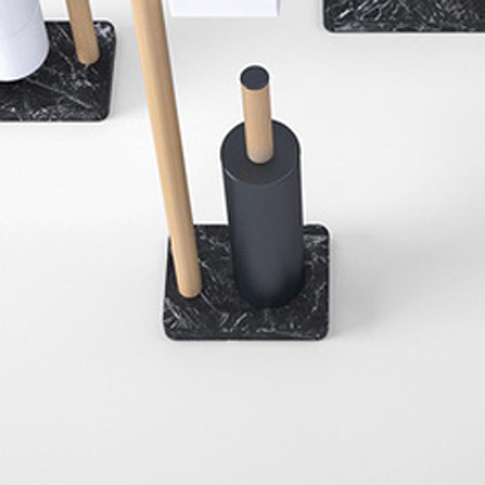 Agape Dot line Ёршик для туалета, напольный, цвет: черный/натуральный дуб