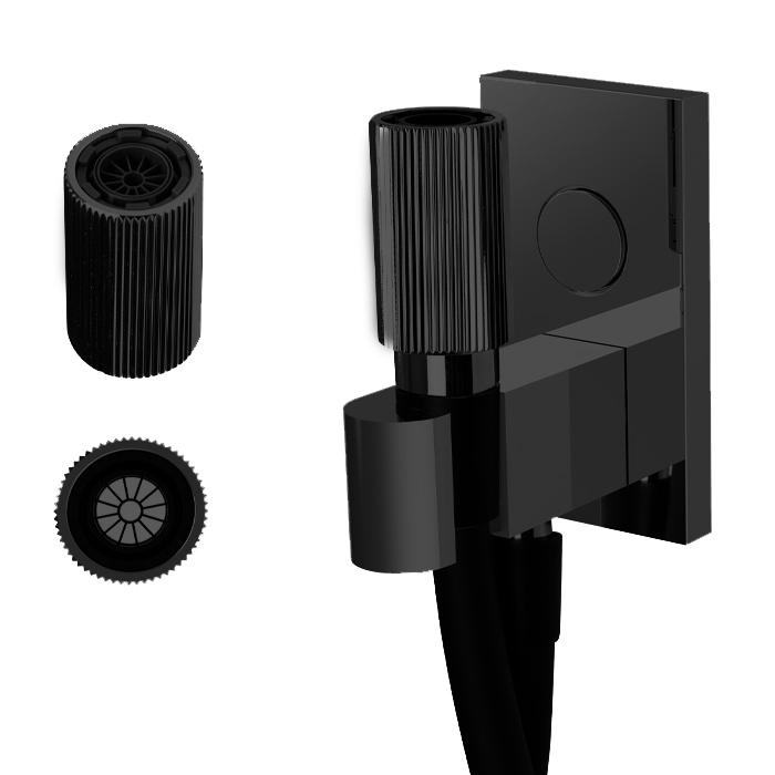 Carlo Frattini Switch Душ Кнайпа с держателем с подводом воды и черным шлангом 1500мм, с кнопкой открытия/закр воды, внешн часть, цвет: черный матовый