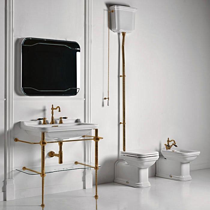 KERASAN Waldorf Консоль с раковиной и зеркалом 120х50см, на 3 отв, цвет консоли: bronzo (бронза)