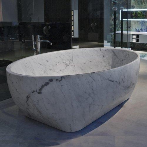 Antonio Lupi Solidea Ванна отдельностоящая 190х130х50 см из натурального камня, цвет: Marmo Carrara
