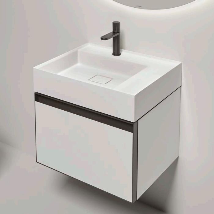 Antonio Lupi Atelier Тумба с раковиной, 54х50хh37,5см, с 1 ящиком с зеркальным фасадом, цвет: белый goffrato