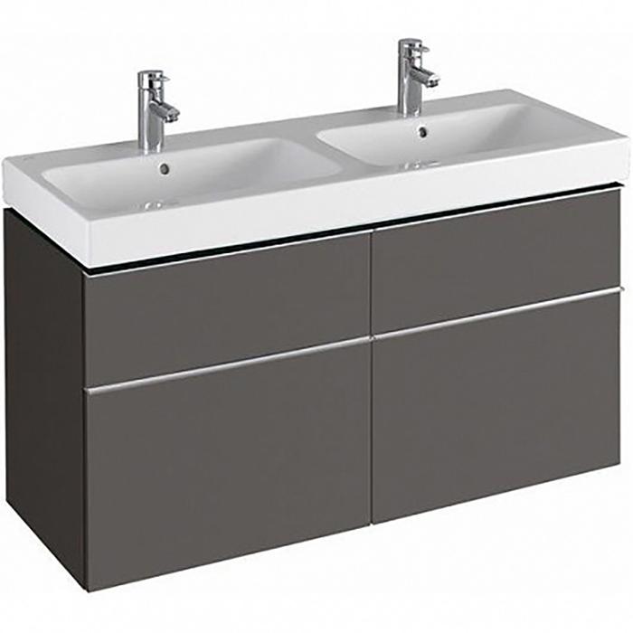 Geberit iCon Тумба с раковиной 119х62х47.7см, с 2 отв., подвесная, с четырьмя выдвижными ящиками, цвет: темно-серый/матовое покрытие