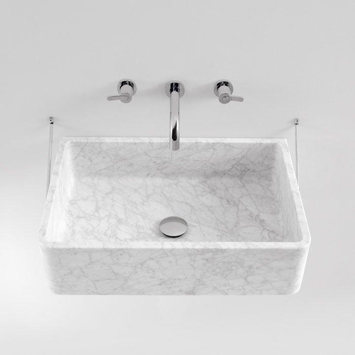 Agape Carrara Раковина подвесная 63х40х16 см, прямоугольная с доп. креплением, без отв., мрамор Carrara, цвет: белый