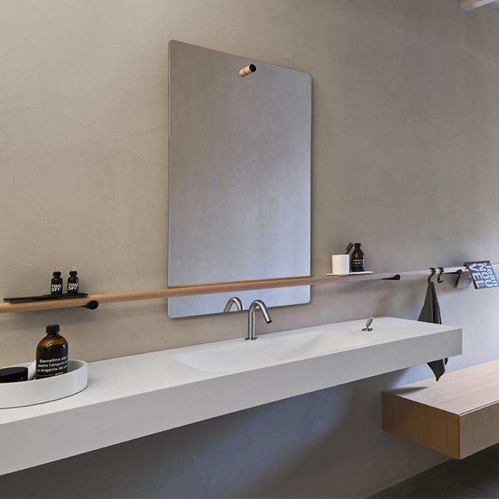 Agape Dot line Прямоугольное зеркало, 80x45см, с полированной кромкой, цвет: натуральный дуб
