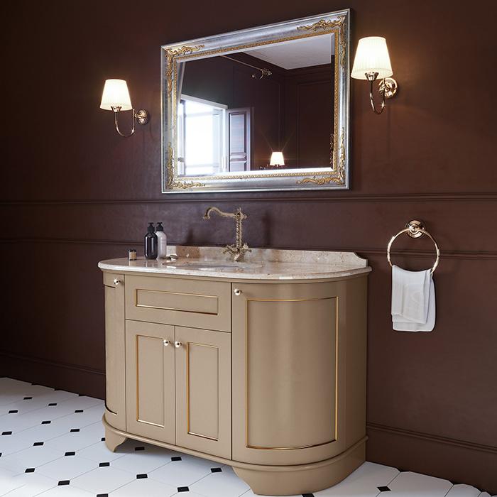 TW York Nuovo Комплект мебели с мраморной столешницей с 1 отв. и зеркалом, 130см, цвет: pennellato/oro