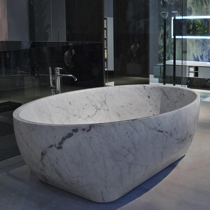 Antonio Lupi Solidea Ванна отдельностоящая 210х130х50см, из натурального камня, цвет: Pietra Stone Grey