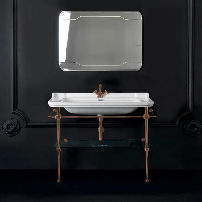 Kerasan Waldorf Металлическая структура 120х42см, с раковиной на1 отв., со стеклянной полочкой, цвет бронза
