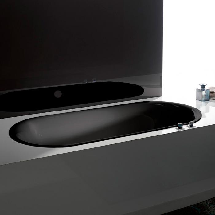 BetteLux Oval Ванна встраив. овальная с шумоизоляцией 190x90x45 см, с покр.Glaze Plus/анти-слип, черный матовый 035