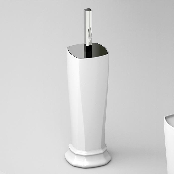 Artceram Civitas Ершик напольный с керамической колбой 10х50 cм, цвет: белый/хром