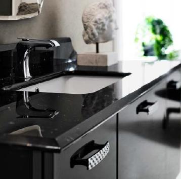 г. Тверь: Cerasa Play комплект подвесной мебели в глянцевом черном цвете, со столешницей из натурального мрамора