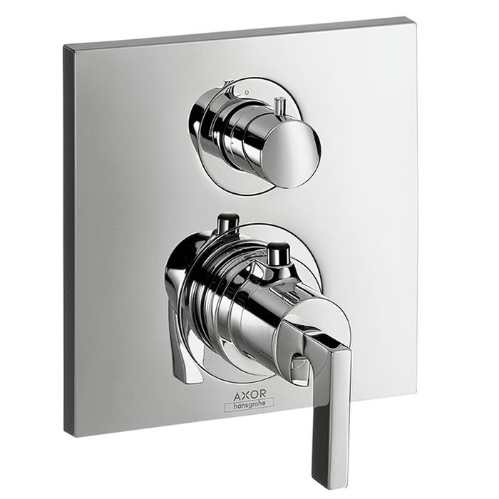 Axor Citterio, Термостат с запорным вентилем, с рычаговой рукояткой, СМ, цвет: хром