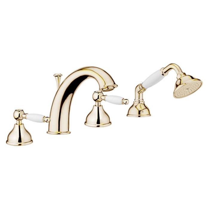Смеситель на борт ванны Webert Dorian DO730101 Золото/белый