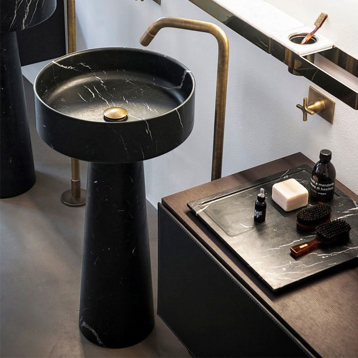 Agape Bjhon Раковина 47 см, без отв., напольная, с колонной, выпуск в пол, мрамор Marquina, цвет: черный