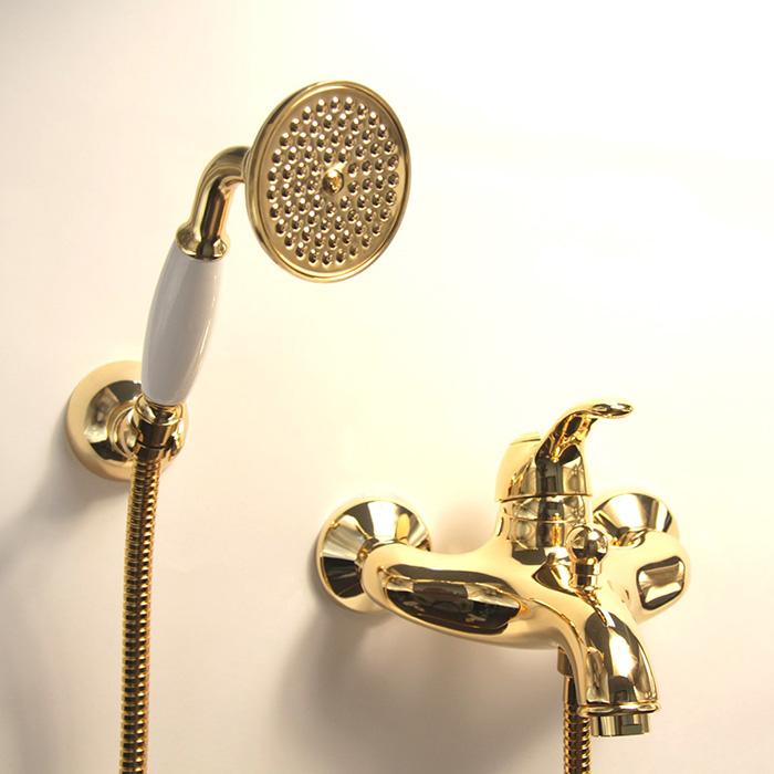 Webert Aurora Смеситель для ванны, настенный, однорычажный, с душевым гарнитуром, цвет: золото