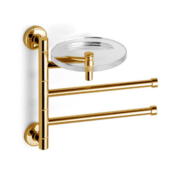 Bertocci Cinquecento Полотенцедержатель поворотный, двойной 23 см с мыльницей, цвет: золото