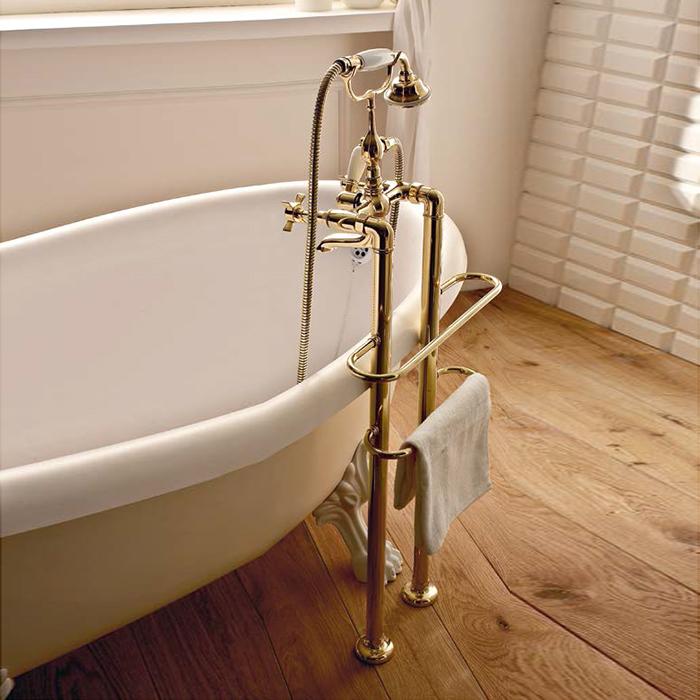 Sbordoni Antica Смеситель для ванны, напольный, h680мм с ручным душем и гибким шлангом, цвет: бронза
