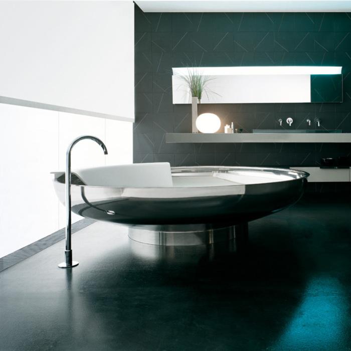 Agape Ufo Ванна отдельностоящая d204x50 см, круглая, 2 спинки, цвет: нерж. сталь