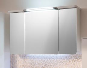 Pelipal Cassca Зеркальный шкаф 1420х724х225 Comfort N.3 дверцы зеркальные, 6 стеклянных полок, встр.светод. подсветка,выключ/розетка, цвет белый глян