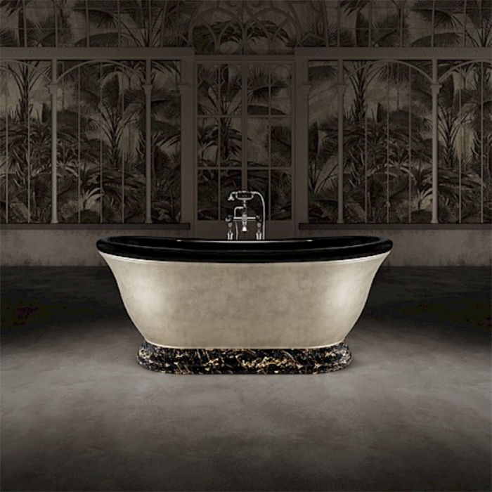 Devon&Devon Aurora 30° Ванна отдельностоящая 171x87xh70.5cм, материал: white teс, опора ванны - мрамор Portoro, отделка ванны: внутри черная глянцевая, цвет: алюминий