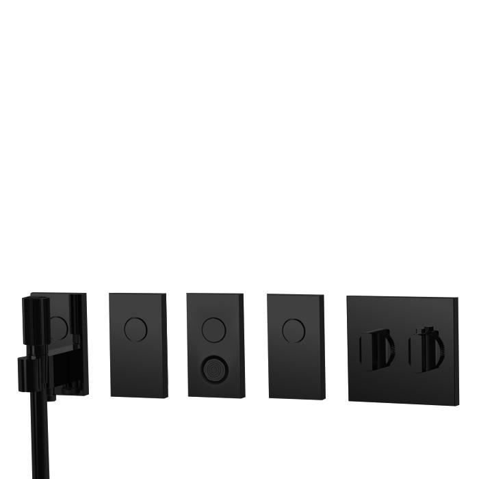 Carlo Frattini Switch Смеситель для душа встраиваемый, термостат, на 4 полож, форсунка, ручн душ и черн шланг 1500 мм, внешн часть, цвет: черный матовый