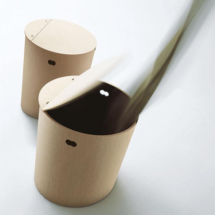 Agape Basket Круглая корзина из дерева d40x48 см, напольная, цвет: натуральный дуб